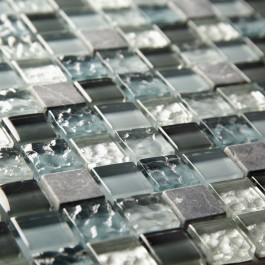 Graphite Marble & Glass 23mm - Mosaic Sheet 6557
