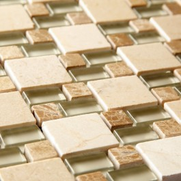 Link Natural Beige Double Stacked - Mosaic Sheet 6724PK10