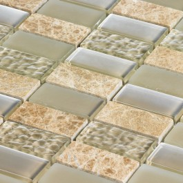Medium Beige Linear - Mosaic Sheet 6816