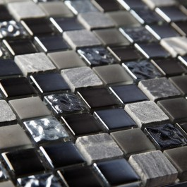Pewter Marble & Glass 23mm - Mosaic Sheet 6526