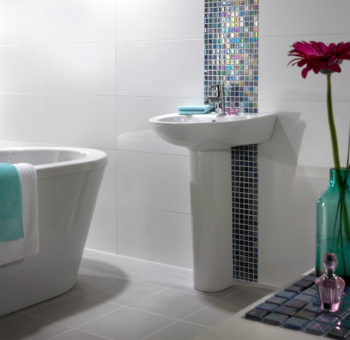 Original We Love The Look Of A Vintagestyle Mosaic Tile Floor In The Bathroom Like All True  Victorian Hex Glossy White With Flower Mosaic Tile, $5599 For A Box Of 10 From Overstock 4 Greek Key Matte Black And White Corner, $698 Each