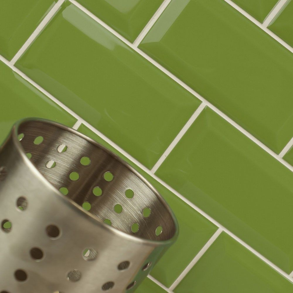 Metro Bevelled Edge 150x75 Lime Green Tile 1492 Wall