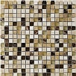 Kenya Emperador Polished Marble and Glass Mosaic (15mmx15mm)