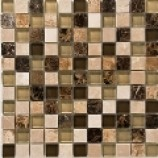 Kenya Emperador Polished Marble and Glass Mosaic (25mmx25mm)