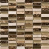 Kenya Emperador Polished Marble and Glass Bar Mosaic (15mmx48mm)