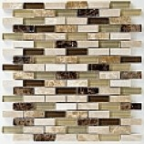 Kenya Emperador Polished Marble and Glass Brick Mosaic (10mmx40mm)