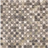 Cayman Tumbled Stone and Glass Mosaic Beige/Brown (15mmx15mm)