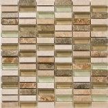 Catania Fossil Mix Marble and Glass Brick Mosaics (15mmx48mm)
