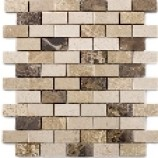 Positano Polished Marble Mosaic Brick Beige (25mmx48mm)