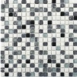 Cayman Tumbled Stone and Glass Mosaic Black/White (15mmx15mm)