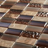 Chocolate Linear Marble & Glass - Mosaic Sheet 6496