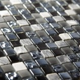 Pewter Marble & Glass 15mm - Mosaic Sheet 6533